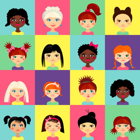 girl illustration: Multinational female face avatar profile heads with multi colored hair. Girls with different hairstyles. Flat design icons isolated. Women close up portraits. Vector illustration