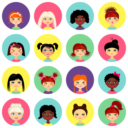 Multinational female face avatar profile heads with multi colored hair. Girls with different hairstyles. Flat design icons isolated on white background. Women close up portraits. Vector illustration Иллюстрация