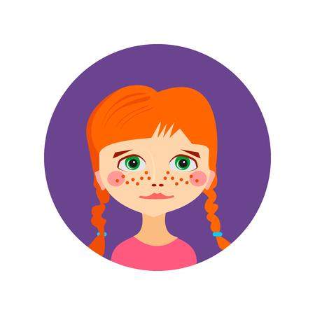 Meisje gezicht avatar profiel hoofd. Vector illustratie voor schoonheid ontwerp. Flat pictogram op een witte achtergrond. Vrouwen close-up portret.