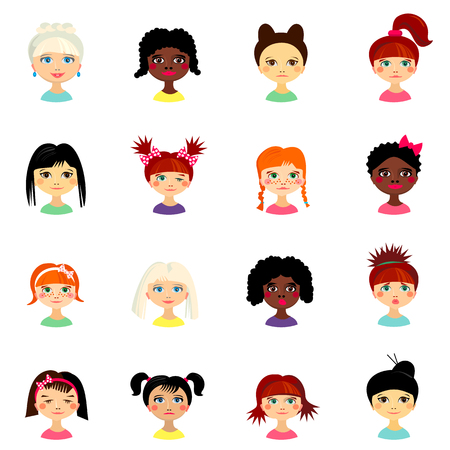 looks: Avatar set with womens of different ethnicity origin. Funny faces. Girls of different nationalities. Women with different types of looks and hairstyles. Cartoon style. Vector design illustration