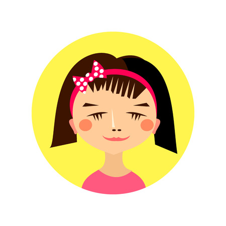 female girl: Female girl face avatar profile head. Vector illustration for beauty design. Flat icon isolated on white background. Women close up portrait.