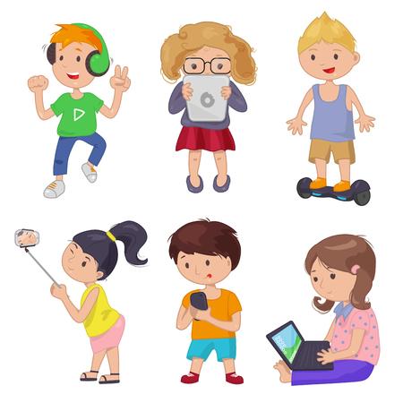 cartoon child: Cute cartoon children, smart device. Vector illustration Kids gadget.