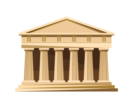 Greek temple icon isolated on white background. Vector illustration for famous architecture design. Greece ancient. Parthenon monument. Column landmark. Vettoriali