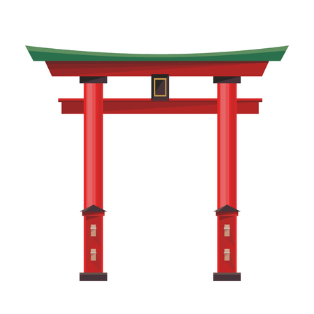 Japanese gate icon isolated on white background. Vector illustration for asia japan religion design. Asian architecture culture temple. Torii tradition worship shrine