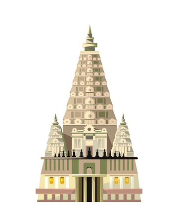 tree of knowledge: Mahabodhi temple icon isolated on white background. Vector illustration for religion design. Indian culture building architecture. Famous asia landmark. Religious buddhism