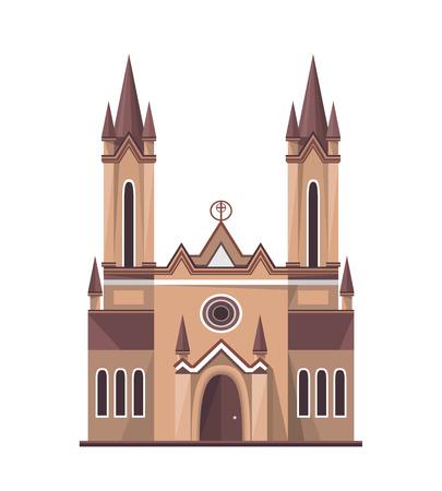 Catholic church icon isolated on white background. Vector illustration for religion architecture design.