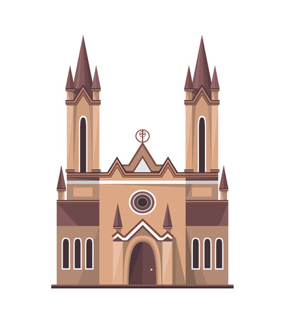 Catholic church icon isolated on white background. Vector illustration for religion architecture design.