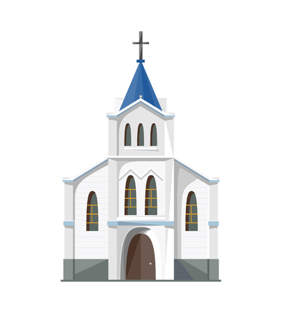 church service: Catholic church icon isolated on white background. Vector illustration for religion architecture design.