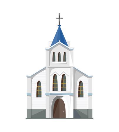 Katholische Kirche-Symbol auf weißem Hintergrund. Vektor-Illustration für die Religion Architektur-Design.