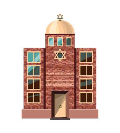 icono de la sinagoga judía aislada en el fondo blanco. Ilustración del vector para el diseño de la religión. La construcción de la arquitectura del templo.
