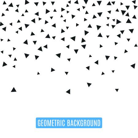 Triangle geometrischen Hintergrund. Vektor-Illustration für modernes abstraktes Design. Trendy Dekoration Mustervorlage. Explosion platzen Knall Konfetti. Schwarz-weiße Farbe. Broschüre Poster Textur-Vorlage Vektorgrafik