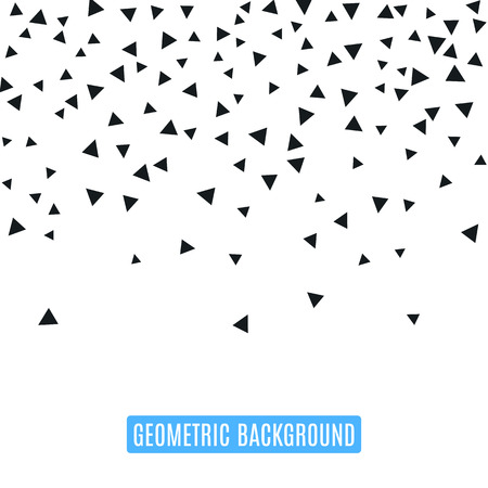 Triangle geometric background. Vector illustration for modern abstract design. Trendy decoration pattern template. Explosion burst bang confetti. Black white color. Brochure poster texture template Vettoriali