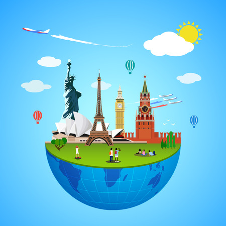 globe theatre: World landmarks vector concept. Global sign illustration. Famous culture place sign