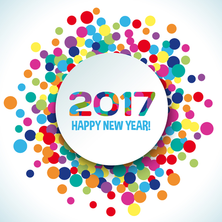 new year decoration: 2017 Happy new year vector background. Bright decoration party holiday