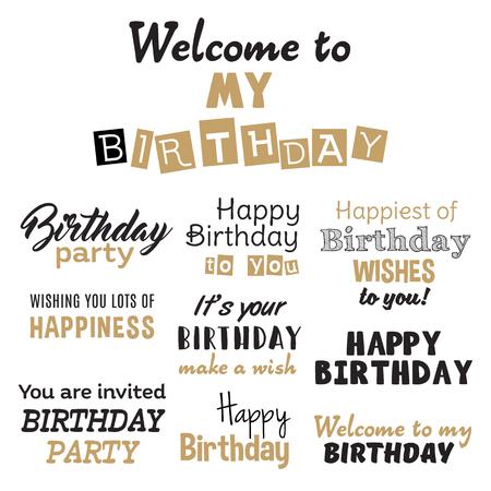 birth day: Happy birthday vector set. Cute black golden illustration for holiday design