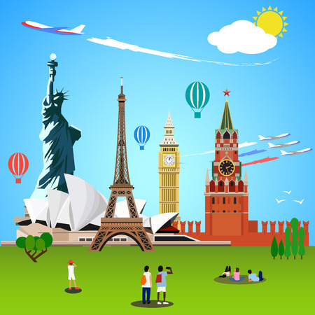 World landmarks concept. Vector illustration for travel design. Eiffel tower, big ben, sydney theater, statue of liberty, kremlin moscow. People tourists Illustration