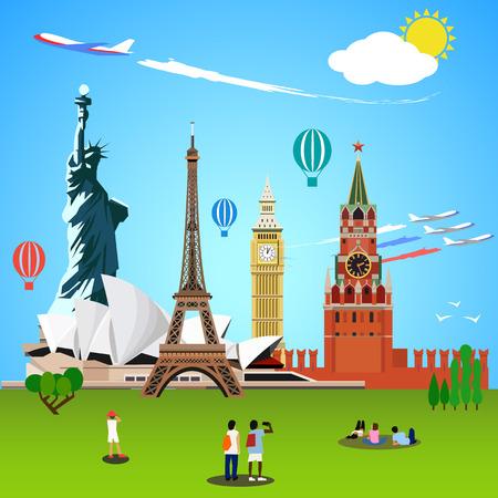 World landmarks concept. Vector illustration for travel design. Eiffel tower, big ben, sydney theater, statue of liberty, kremlin moscow. People tourists Illustration