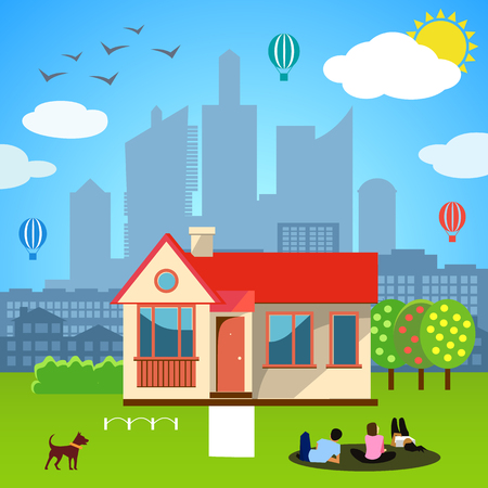 real people: Urban home concept. Vector illustration for happy family design. People, dog dream. Real estate building