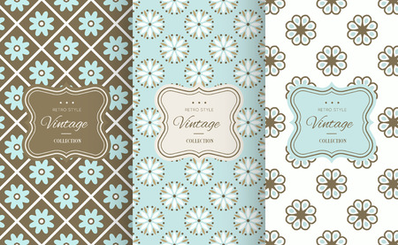 chocolate box: Retro chic seamless pattern background. Vector illustration for design. Abstract geometric frame. Stylish decorative label set Art decoration texture wallpaper package Elegant fashion simple border