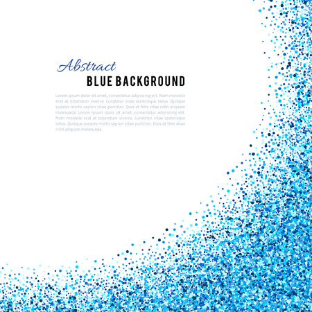 vector background: Abstract blue vector background. Bright navy indigo cyan glitter confetti. Cold frost winter snow dot spot