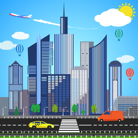urban district: Urban earth concept. Vector illustration for global design. Flat cartoon style. City building planet. Skyscraper world on blue sky background. Real estate city infrastructure. Modern district scene Illustration