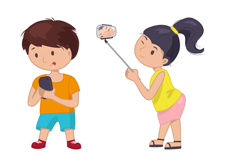 full length portrait: Young girl boy standing full length to make a self portrait photo with mobile device using selfie stick. Vector flat concept illustration. Woman kid smartphone icon