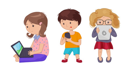 woman cell phone: Cute young girl boy with computer laptop, tablet, e-book. Vector illustration for technology design. Pupil kids people icon set on white background Illustration