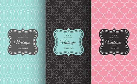 Retro chic seamless pattern background. Vector illustration for design. Abstract geometric frame. Stylish decorative label set Art decoration texture wallpaper package Elegant fashion simple border