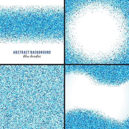 추상 블루 스플래시 벡터 배경의 집합입니다. 밝은 해군 인디고 시안 색 반짝이 색종이. 차가운 서리 겨울 눈이 점. 튄 자국 탬플릿 일러스트