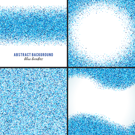 Set of abstract blue splash vector background. Bright navy indigo cyan glitter confetti. Cold frost winter snow dot spot. Splatter stain template