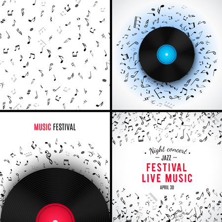 abstract melody: Set of abstract musical patterns with black notes on white background. Vector Illustration for music design. Modern pop concept melody banner. Vinyl record template