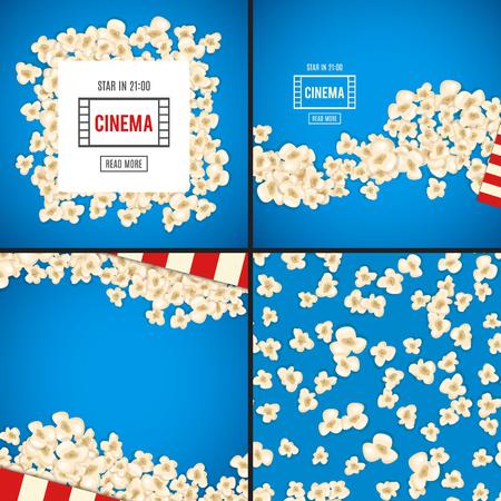 fresh pop corn: Popcorn for movie lies on blue background. Vector illustration for cinema design. Pop corn food pile isolated. Border and frame for film poster flyer.