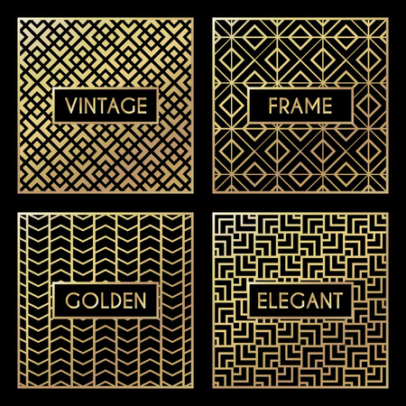 herringbone background: Golden vintage pattern on black background. Vector illustration for retro design. Gold abstract frame. Label set. Elegant luxury foil