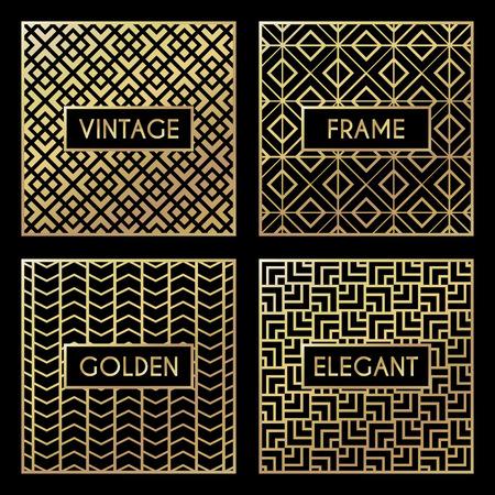 Or motif vintage sur fond noir. Vector illustration for design rétro. Gold frame abstraite. Étiquette définie. Elégant feuille de luxe Vecteurs
