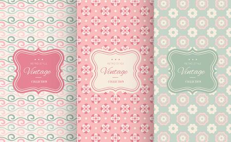 Cute floral seamless pattern background. Vector illustration for elegant design. Abstract geometric frame. Stylish decorative label set. Pink and blue shabby color. Flower wave motif background. Illustration