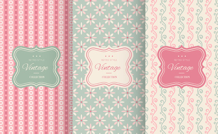 pink flower background: Cute floral seamless pattern background. Vector illustration for elegant design. Abstract geometric frame. Stylish decorative label set. Pink and blue shabby color. Flower wave motif background. Illustration
