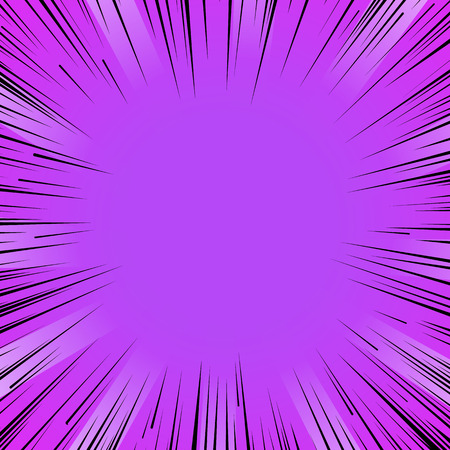 comic background: Abstract comic book flash bright purple explosion radial lines background. Vector illustration for superhero design. Light strip burst. Flash ray blast glow Manga cartoon hero fight cute print