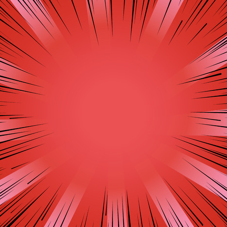strip design: Abstract comic book flash bright red explosion radial lines background. Vector illustration for superhero design. Light strip burst. Flash ray blast glow Manga cartoon hero fight cute print Illustration