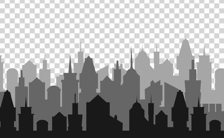 landscape architecture: Set of cityscape background. Skyline silhouettes. Modern architecture. Black urban landscape. Horizontal banner with megapolis panorama. Building icon. Vector illustration on transparent