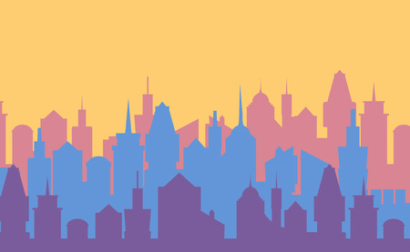 Set of cityscape background. Skyline silhouettes. Modern architecture. Blue urban landscape. Horizontal banner with megapolis panorama. Building icon. Vector illustration on orange Illustration