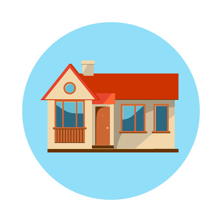 residential home: Flat house icon isolated on white background. Vector illustration for real estate design. Cute cartoon home sign. Single storey building. Architecture symbol. Residential cottage. Property village.