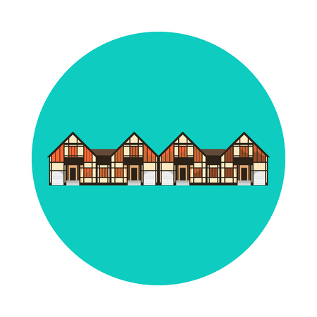 residential home: Flat house icon isolated on white background. Vector illustration for real estate design. Cute cartoon home sign. One storey building. Architecture symbol. Residential cottage. Property village.