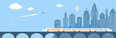 railway transportation: Train running through city. Railway and bridge. Transportation over river. Modern city infrastructure. Plane flies over skyscrapers. Horizont panorama. Flat style vector illustration