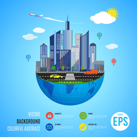 urban building: Urban earth concept. Vector illustration for global infographic design. Flat cartoon style. City building planet. Skyscraper world on blue sky background. Real estate city infrastructure