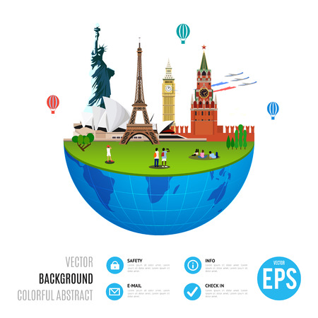 World landmarks concept on white background. Vector illustration for travel design. Famous country symbol icon. Tourism city place culture architecture. USA, Russia, London, Paris, Australia.