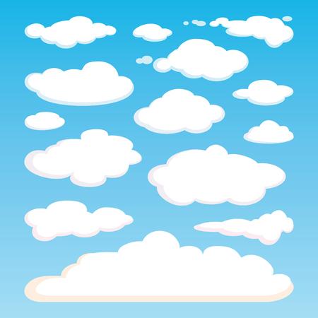 Motif de nuages ??blancs isolé sur fond de ciel bleu. Ensemble de nuages ??réalistes de différentes formes. Grande collection d'éléments de Cloudscape. motif ciel. Météorologie. Vector illustration de conception