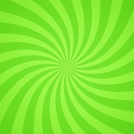 Swirling radial bright green pattern background. Vector illustration for swirl design. Vortex starburst spiral twirl square. Helix rotation rays. Scalable stripes. Fun sun light beams.