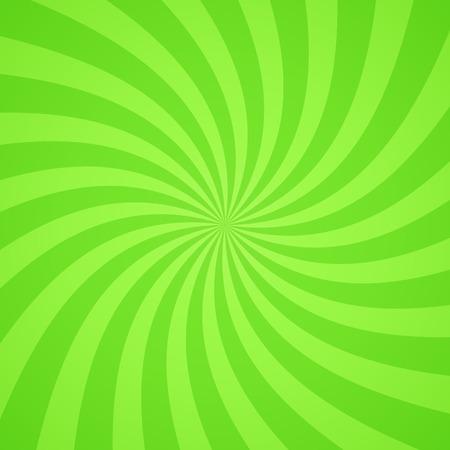 green swirl: Swirling radial bright green pattern background. Vector illustration for swirl design. Vortex starburst spiral twirl square. Helix rotation rays. Scalable stripes. Fun sun light beams.