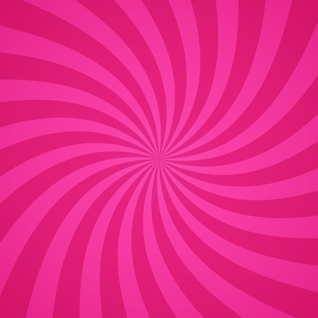 spiral vector: Swirling radial bright pink pattern background. Vector illustration for swirl design. Vortex starburst spiral twirl square. Helix rotation rays. Scalable stripes. Fun sun light beams. Illustration