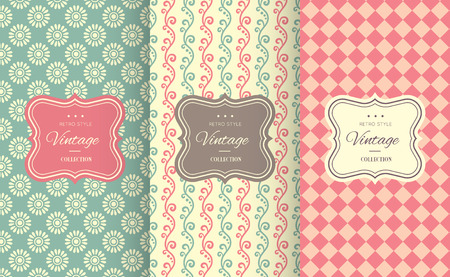 a charming: Charming different vector seamless patterns. Sweet pink, blue and lemon cream colors. Endless texture can be used for printing onto fabric and paper. Heart, flower and dot shape.